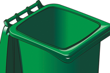 Clipart of a green recycle bin with the lid open
