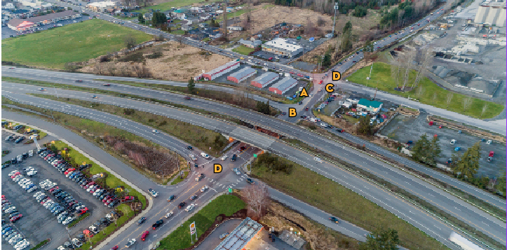 Aerial view of the 166th interchange with SR 410 with the letters A, B, C and D to correspond to efforts listed below.
