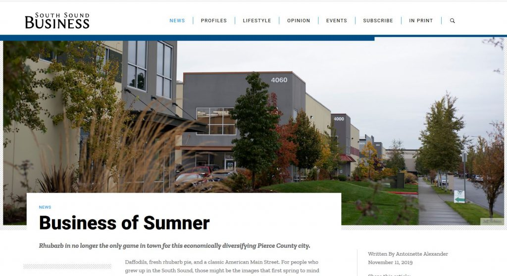 """Screenshot of South Sound Business article entitled """"Business of Sumner"""" with image of warehouses, headline and beginning of story text."""