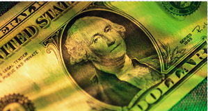 Image of dollar bill with bright green colors